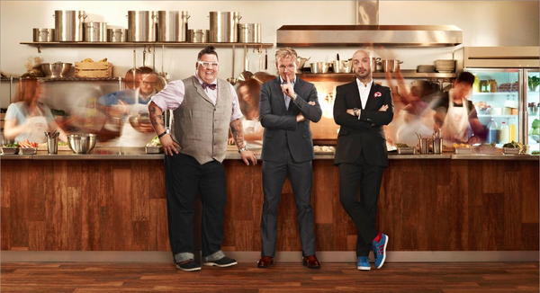 "Graham Elliot, Gordon Ramsay and Joe Bastianich of Fox's ""MasterChef."""