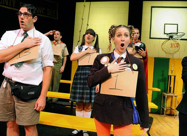 Will Windsor Erwin asWilliam Barfee (left) and Kristen Stachina as Logainne SchwartzandGrubenierre with the cast of 'The 25th Annual Putnam County Spelling Bee' opening Friday at the Pennsylvania Playhouse in Bethlehem