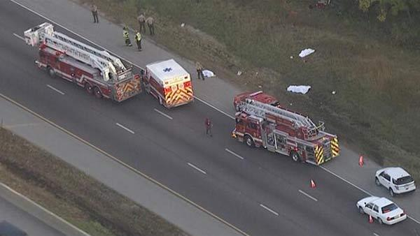 Emergency crews at the scene of a crash on Interstate 290. (Sara Jindra, WGN-TV)