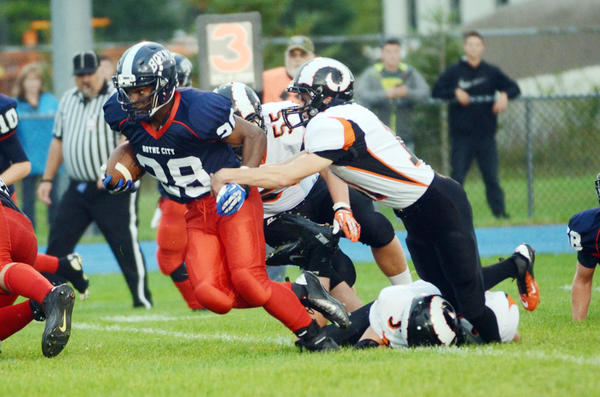 Boyne City sophomore running back Malik Smith (28) and the Ramblers will play host to Traverse City St. Francis in a non-league contest Friday, Sept. 27, at Earl Brotherston Field in Boyne City. Both the Ramblers and Gladiators are 3-1 on the season.