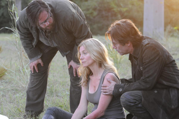 "Zak Orth, left, Elizabeth Mitchell and Billy Burke appear in ""Revolution."""
