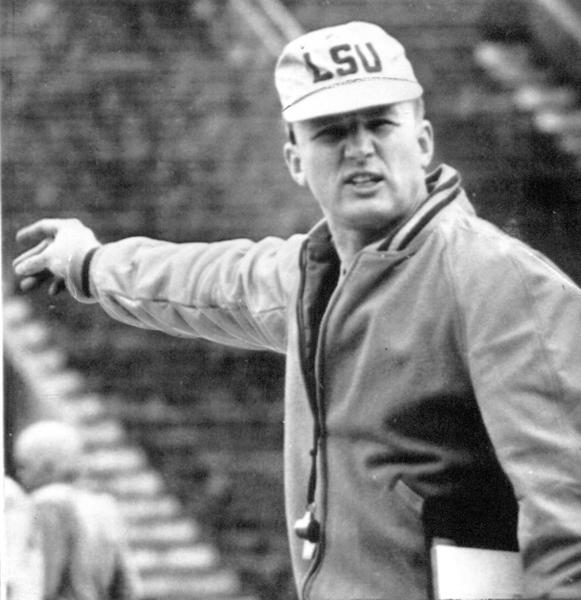 National champion LSU football coach Paul Dietzel during workout for Sugar Bowl game against Clemson in 1958.