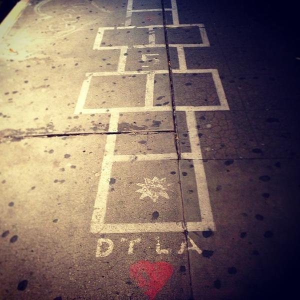 A hopscotch course in downtown L.A. is shown.