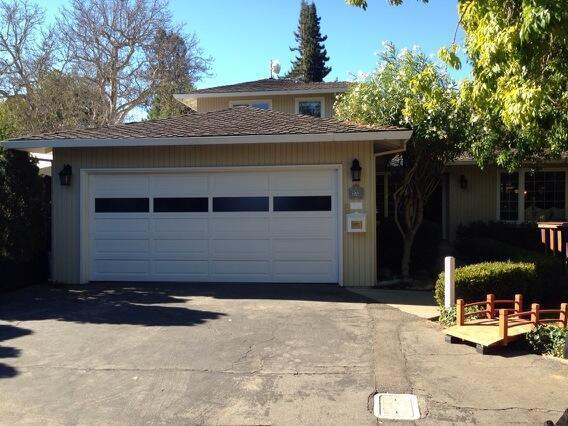 The Menlo Park house and garage where Google founders Larry Page and Sergey Brin used to work.