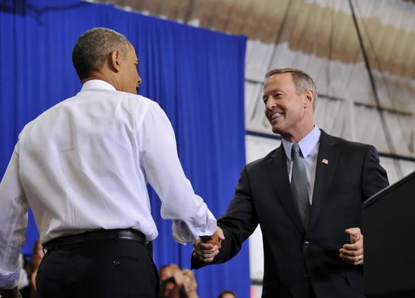 Gov. Martin O'Malley shakes hands with President Obama in Prince George's County on Thursday.