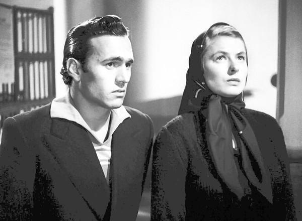 "Mario Vitale and Ingrid Bergman in ""Stromboli."""