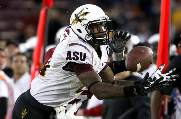 Arizona State receiver Jaelen Strong can't make a catch against Stanford in the fourth quarter of their game last week.