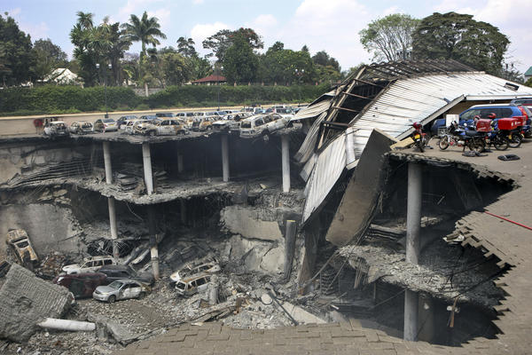 The collapsed parking structure at the Westgate shopping mall in Nairobi, Kenya. Two more attacks in the north of the country underscored continuing security problems.