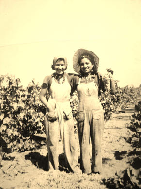 """Bea and Angie,"" taken in the Selma, Calif., grape fields circa 1947, captures Bea Franco, left, with her sister Angie."