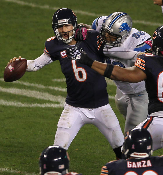 Jay Cutler is sacked by the Lions' Ndamukong Suh last season.