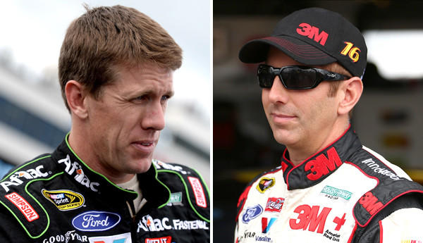 Roush Fenway Racing drivers Carl Edwards, left, and Greg Biffle will try to keep alive their Sprint Cup championship hopes this weekend in Dover, Del.