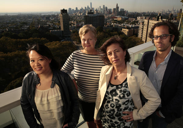 Mynette Louie, left, Mary Jane Skalski, second from left, Julie Parker Benello, third from left, and Dan Cogan, right, have created a new financial fund for women directors.