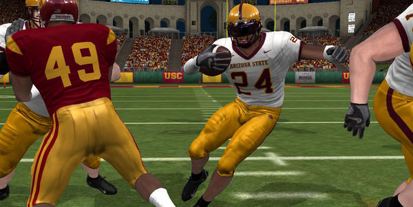 "A scene from a version of Electronic Arts' ""NCAA Football"" video game."