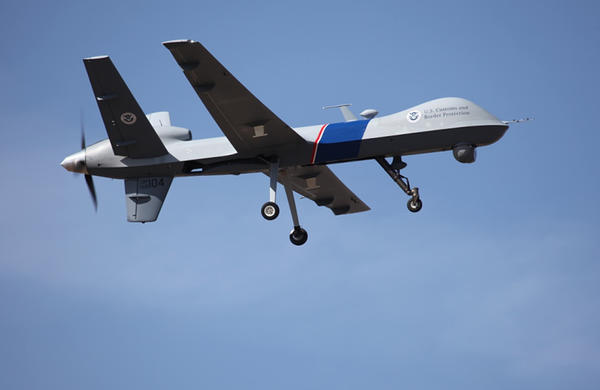 A drone patrols the U.S.-Canadian border.