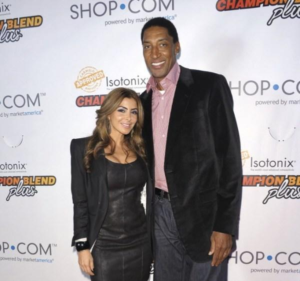 Bulls legend Scottie Pippen (left) and his wife Larsa Pippen (right) attend Carmelo Anthony & SHOP.COM launch Isotonix Champion Blend Plus Supplements Oct. 26, 2012 in New York City.