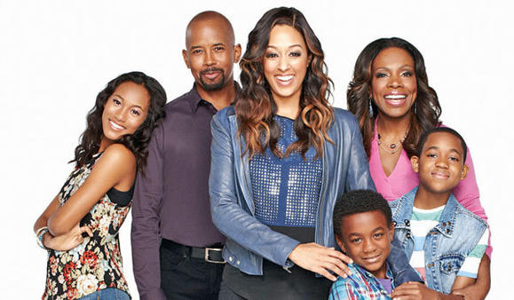The cast of 'Instant Mom,' from left, Sydney Park, Michael Boatman, Tia Mowry-Hardrict, Damarr Calhoun, Sheryl Lee Ralph and Tylen Williams.