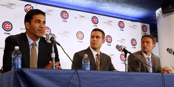 Jason McLeod with Theo Epstein and Jed Hoyer at Wrigley.
