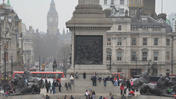A Minute Away: Lions and bystanders, Trafalgar Square, London