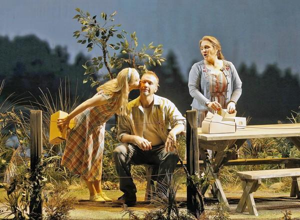 "Susannah Biller (Selena), Wayne Tigges (Joe St. George) and Patricia Racette (Dolores Claiborne) in ""Dolores Claiborne"" at San Francisco Opera."