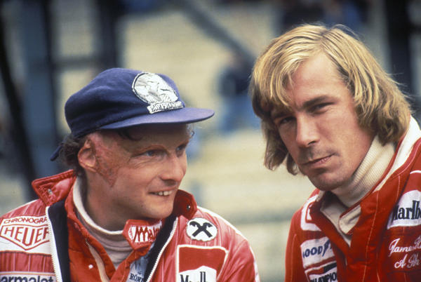 Niki Lauda talks to rival James Hunt before the start of the Belgian Grand Prix on 5th June 1977 at the Circuit Zolder in Limburg, Belgium.