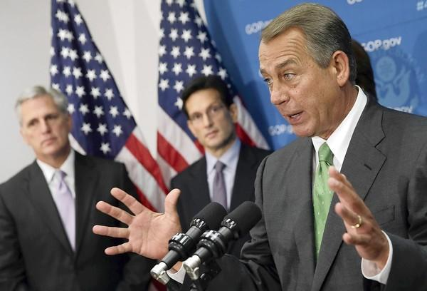 House Speaker John A. Boehner, joined by other House Republican leaders, talks to reporters about attempts to find a budget strategy that would satisfy the chamber's most conservative members.