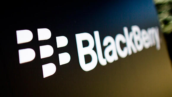 A Blackberry logo is seen at the smartphone maker's Canadian headquarters.