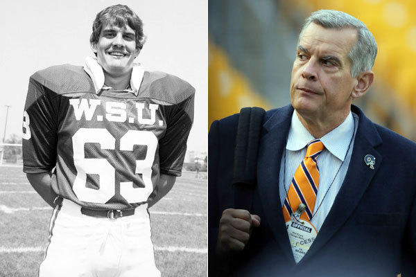 Wayne State offensive guard and team captain Phil Emery in 1980 and as the Bears GM in 2013.