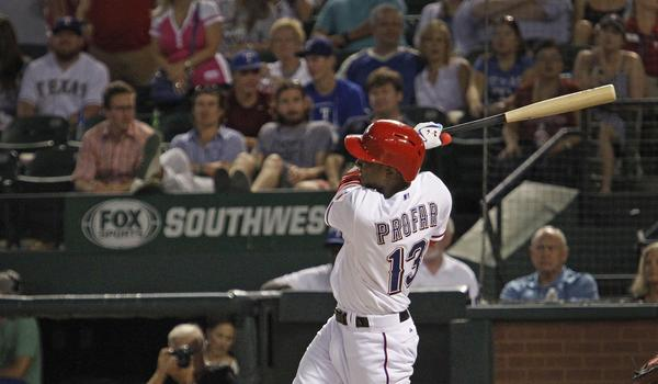 Jurickson Profar hits a pinch-hit, walk-off home run in the ninth inning to lift the Texas Rangers to a 6-5 win over the Angels on Thursday night.