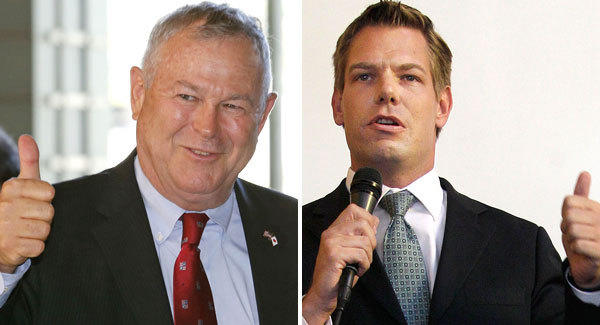 Reps. Dana Rohrabacher, left, and Eric Swalwell hold opposite views on the healthcare law.
