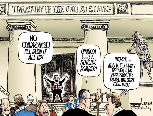 With a looming showdown over raising the debt ceiling, Congress is back to where it was in 2009 when Horsey produced this cartoon.