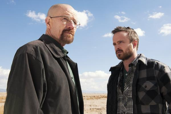 "Bryan Cranston as Walter White, left, and Aaron Paul as Jesse Pinkman are the stars of ""Breaking Bad,"" ending its run Sunday on AMC."