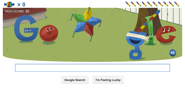 Google is celebrating its 15th birthday with a Google Doodle that features a piñata.