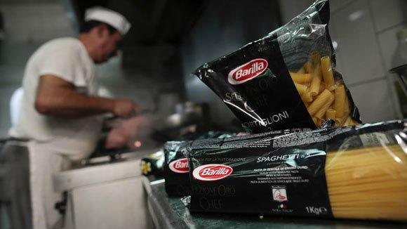 Packages of Barilla pasta are seen in the kitchen of a Rome restaurant.