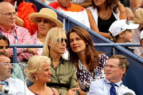 Martina Navratilova and Julia Lemigova watch a match between Rafael Nadal and Richard Gasquet on Sept. 7 at the U.S. Open.