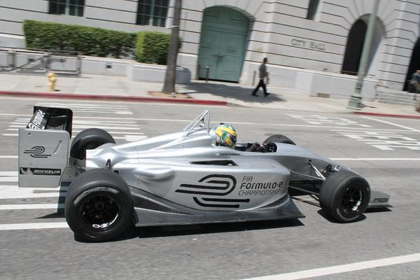 Driver Lucas Di Grassi drives the new Formula E electric race car prototype April 22 in Los Angeles.