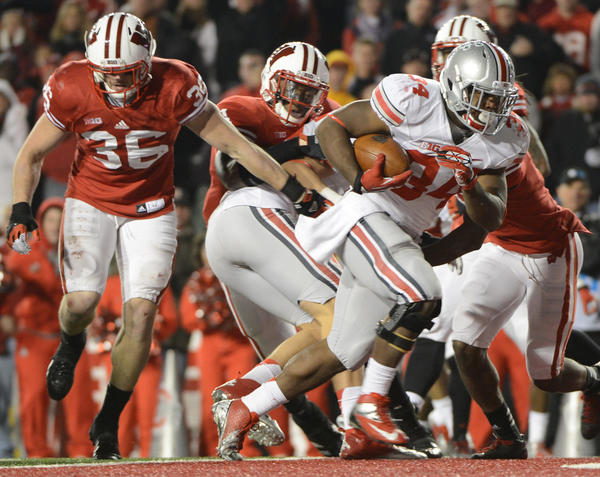 Ohio State running back Carlos Hyde runs in for the go ahead touchdown during overtime against Wisconsin on Nov. 17, 2012.