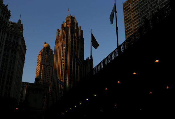 The Tribune Tower during sunset.