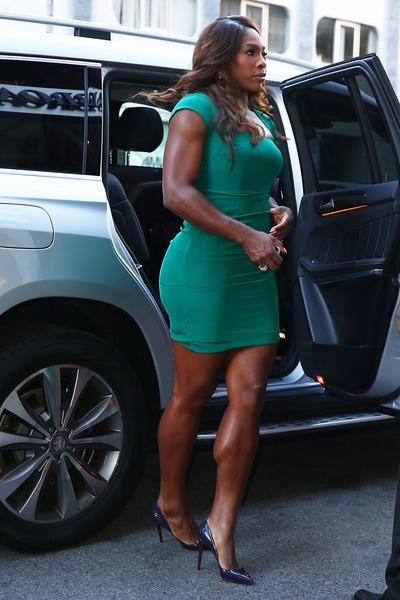 "US Open Champion Serena Williams of the United States enters from the street to her appearace on the ""CBS This Morning"" show on her New York City Trophy Tour on September 9, 2013 in New York City."