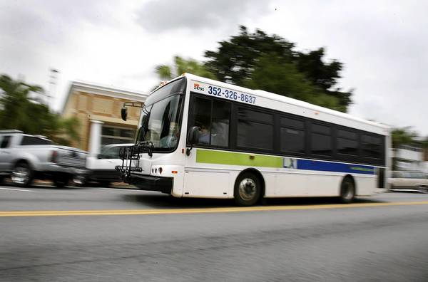A Lake County Transit bus arrives at Main St. in Tavares.
