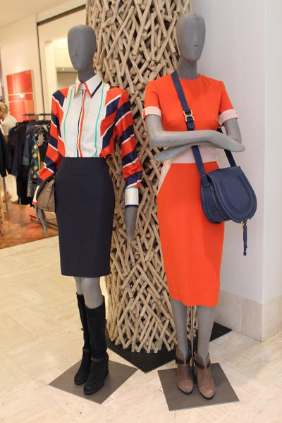 Polo-appropriate outfits on display at Neiman Marcus, Beverly Hills.