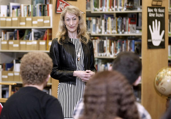 California Secretary of State Debra Bowen speaks with Burroughs High School's Junior State of America members during visit to the Burbank school on Thursday, Sept. 26, 2013. Secretary Bowen encouraged students to become involved in their government.