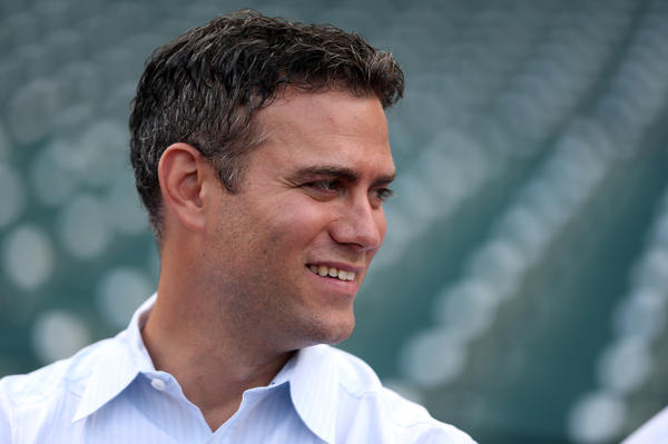 Theo Epstein before a game in August at Wrigley.