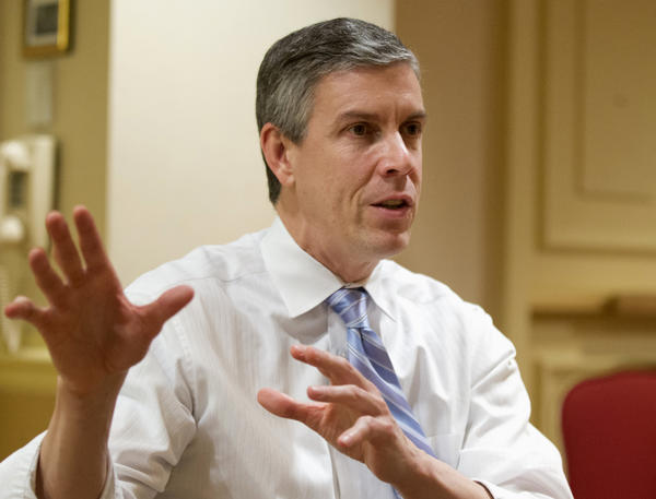 Education Secretary Arne Duncan speaks in Washington. The Obama administration told colleges and universities this week they can continue to use admissions to increase diversity.