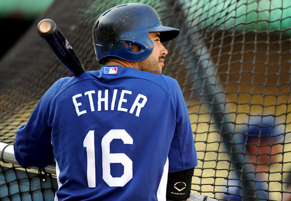 Dodgers outfielder Andre Ethier waits to take his turn during a batting practice earlier this month at Dodger Stadium.