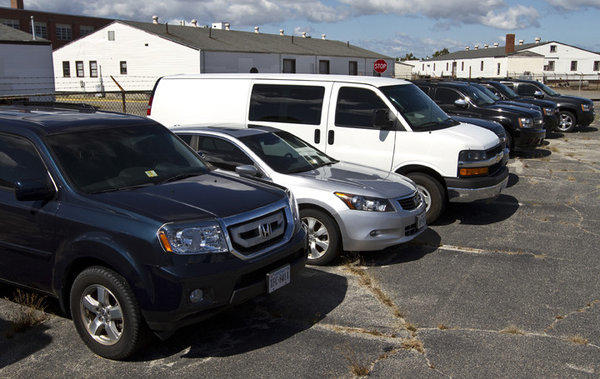 Cars involved in cigarette sting are parked at Fort Monroe in one of the Hampton City lots.