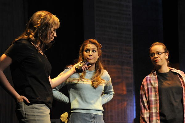 "Isabella Ward (from left),Emily Steward, Samantha Frontera and Alexandria Crawford (background) perform in ""The Laramie Project: 10 Years Later."""