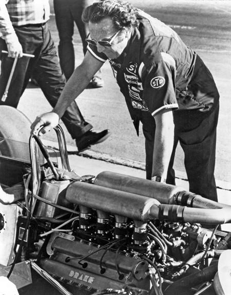 George Bignotti, shown at Ontario Motor Speedway in 1978, was the chief mechanic for a record seven Indy 500 winners, including A.J. Foyt and Al Unser.