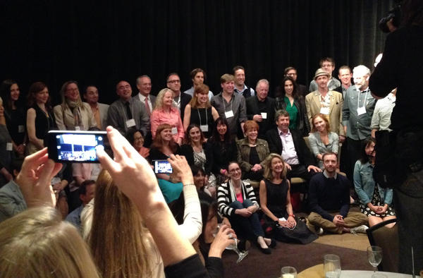 Authors pose for a group photo after the 2013 SCIBA dinner.