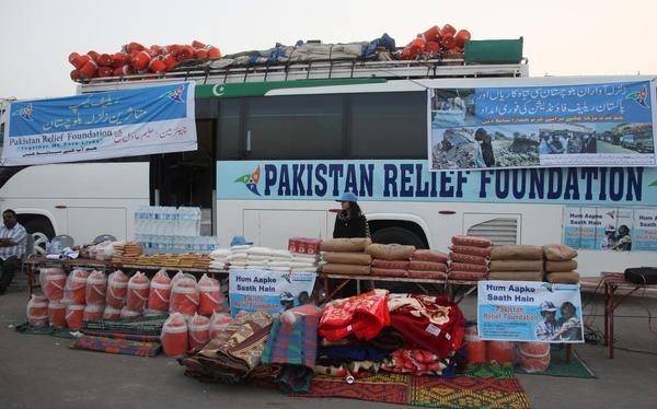 Donations collected in Karachi, Pakistan, for earthquake victims.
