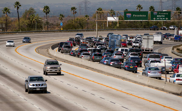 Traffic is backed up along the 210 Freeway in Irwindale after an accident earlier last month. Gov. Jerry Brown acted Saturday on a trio of bills that affect who can use the carpool lanes and when.
